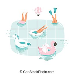 Hand drawn vector abstract cartoon summer time fun cartoon illustration with swimming people in swimming pool with hot air balloons isolated on white background