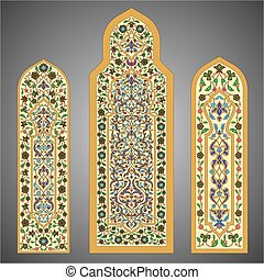 Stained-glass windows with flowers ornament