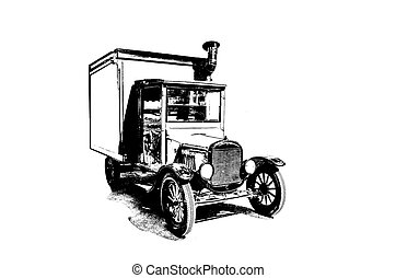 drawing of vintage truck stylized as engraving. - drawing of...