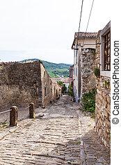 Motovun, Istria. Croatia - View of typical Motovun stone...