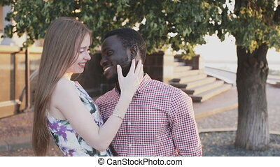 happy mixed race couple - Portrait of a interracial happy...