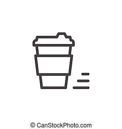 Coffee to go line icon isolated on white. Vector...