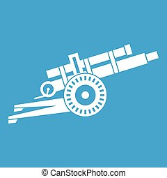 Artillery gun icon white isolated on blue background vector...