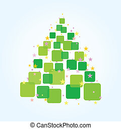 Christmas fur-tree from green squares. A vector illustration