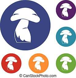 Good mushroom icons set in flat circle red, blue and green...