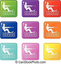 Water skiing man set 9 - Water skiing man icons of 9 color...
