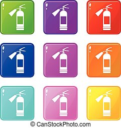 Fire extinguisher set 9 - Fire extinguisher icons of 9 color...