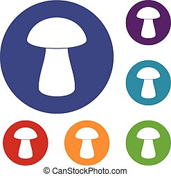 Fungus boletus icons set in flat circle red, blue and green...