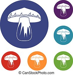 Forest mushroom icons set in flat circle red, blue and green...