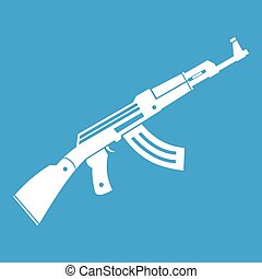 Submachine gun icon white isolated on blue background vector...
