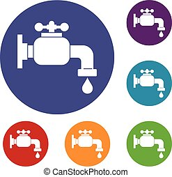 Water tap icons set in flat circle red, blue and green color...