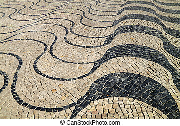 "Portuguese pavement - ""Calcada\"", typical portuguese..."