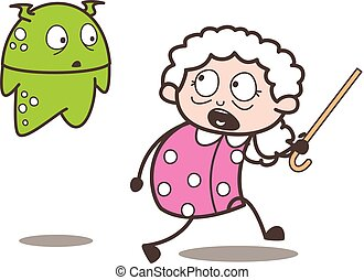 Cartoon Scared Granny with Alien Vector Illustration