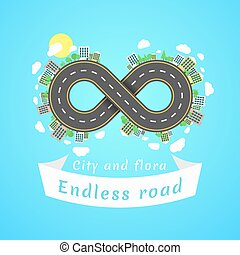 Endless road. Travel time. The carriageway. Banner of white...