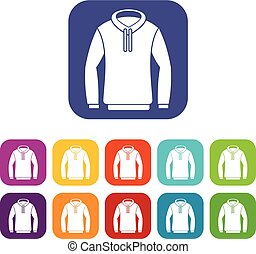 Hoody icons set vector illustration in flat style in colors...