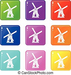 Ancient windmill set 9 - Ancient windmill icons of 9 color...