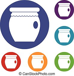 Honey bank icons set in flat circle red, blue and green...