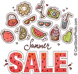 Summer Sale design with doodles