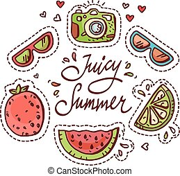 Summer doodle set. Various fruits, drinks, objects, fashion...