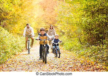 Young family in warm clothes cycling in autumn park -...