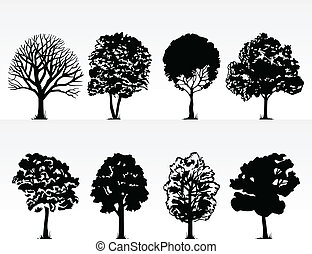 Silhouettes of trees on a white background. A vector...