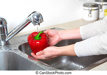 Sweet pepper in the sink. Fresh sweet pepper