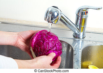 Red cabbage in the sink. Fresh red cabbage