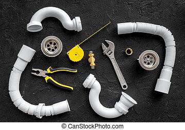 水暖工, 頂部, 黑色, 背景, 工具, 看法