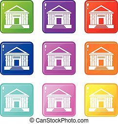 Colonnade set 9 - Colonnade icons of 9 color set isolated...