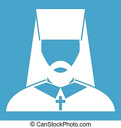 Orthodox priest icon white isolated on blue background...