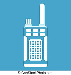 Portable handheld radio icon white isolated on blue...