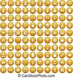 100 adult games icons set gold - 100 adult games icons set...