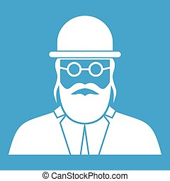 Orthodox jew icon white isolated on blue background vector...