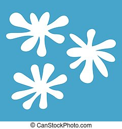 Paintball blob icon white isolated on blue background vector...