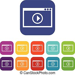 Program for video playback icons set vector illustration in...