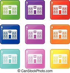 Hospital set 9 - Hospital icons of 9 color set isolated...