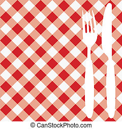 Menu Card Invitation - Menu Card Red and White Gingham...