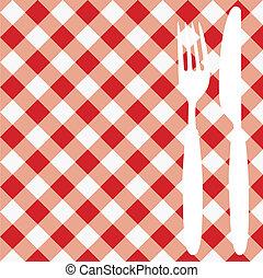 Menu Card / Invitation - Menu Card / Red and White Gingham...