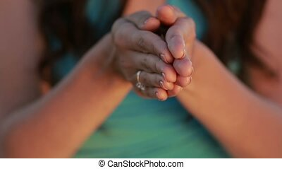 Woman hands holding ears and grains of wheat - Closeup...