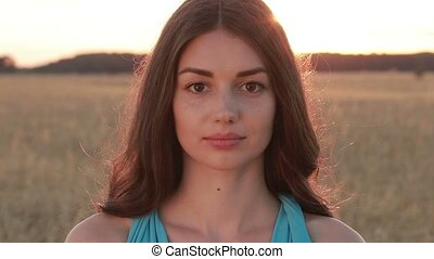 Summer portrait of charming woman at sunset - Portrait of...