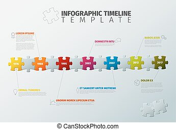 Vector puzzle Infographic timeline template - Vector puzzle...