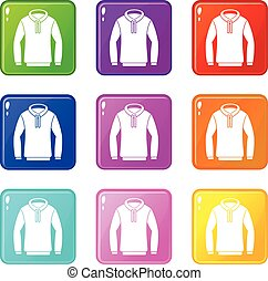 Hoody set 9 - Hoody icons of 9 color set isolated vector...
