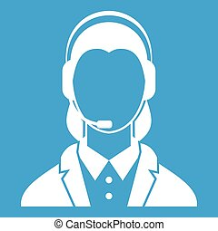 Support phone operator in headset icon white isolated on...