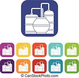 Gas storage tanks icons set