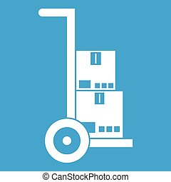 Hand cart with cardboards icon white isolated on blue...