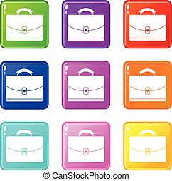 Diplomat set 9 - Diplomat icons of 9 color set isolated...