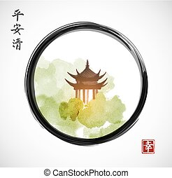 Pagoda temple and forest trees in black enso zen circle on white background. Traditional oriental ink painting sumi-e, u-sin, go-hua. Hieroglyphs - spirit, peace, clarity, happiness