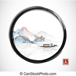 Island with mountains and fishing boat in black enso zen...