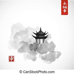 Pagoda temple and forest trees on white background. Traditional oriental ink painting sumi-e, u-sin, go-hua. Contains hieroglyphs - eternity, freedom, happiness