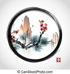 Pine tree branch, red sakura cherry tree in blossom and high mountains in black enso zen circle on white background. Contains hieroglyph - happiness